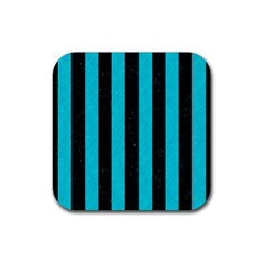Stripes1 Black Marble & Turquoise Colored Pencil Rubber Square Coaster (4 Pack)  by trendistuff