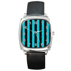 Stripes1 Black Marble & Turquoise Colored Pencil Square Metal Watch by trendistuff