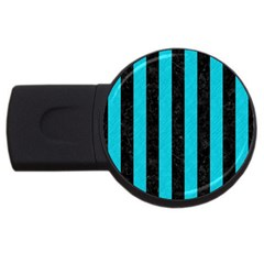 Stripes1 Black Marble & Turquoise Colored Pencil Usb Flash Drive Round (4 Gb) by trendistuff