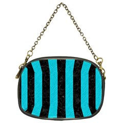 Stripes1 Black Marble & Turquoise Colored Pencil Chain Purses (one Side)  by trendistuff