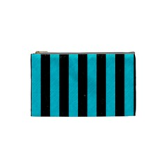 Stripes1 Black Marble & Turquoise Colored Pencil Cosmetic Bag (small)  by trendistuff