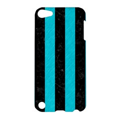 Stripes1 Black Marble & Turquoise Colored Pencil Apple Ipod Touch 5 Hardshell Case