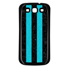 Stripes1 Black Marble & Turquoise Colored Pencil Samsung Galaxy S3 Back Case (black) by trendistuff