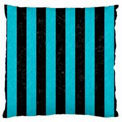 Stripes1 Black Marble & Turquoise Colored Pencil Large Flano Cushion Case (one Side) by trendistuff