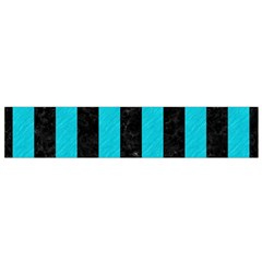 Stripes1 Black Marble & Turquoise Colored Pencil Small Velour Scarf