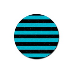 Stripes2 Black Marble & Turquoise Colored Pencil Rubber Coaster (round)  by trendistuff