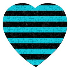 Stripes2 Black Marble & Turquoise Colored Pencil Jigsaw Puzzle (heart) by trendistuff