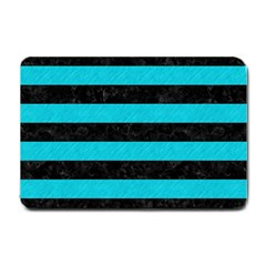 Stripes2 Black Marble & Turquoise Colored Pencil Small Doormat  by trendistuff