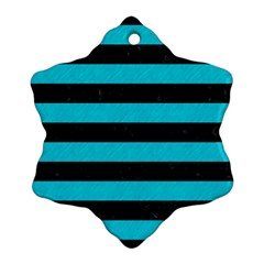 Stripes2 Black Marble & Turquoise Colored Pencil Snowflake Ornament (two Sides) by trendistuff