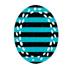 Stripes2 Black Marble & Turquoise Colored Pencil Oval Filigree Ornament (two Sides) by trendistuff