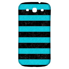 Stripes2 Black Marble & Turquoise Colored Pencil Samsung Galaxy S3 S Iii Classic Hardshell Back Case by trendistuff