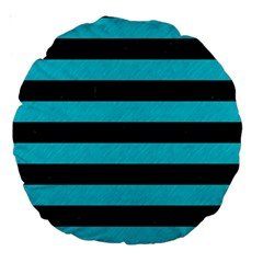 Stripes2 Black Marble & Turquoise Colored Pencil Large 18  Premium Round Cushions by trendistuff