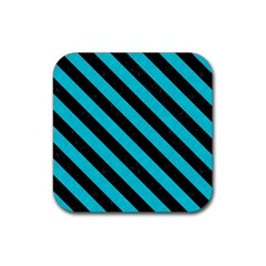 Stripes3 Black Marble & Turquoise Colored Pencil Rubber Square Coaster (4 Pack)  by trendistuff