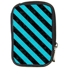 Stripes3 Black Marble & Turquoise Colored Pencil Compact Camera Cases by trendistuff