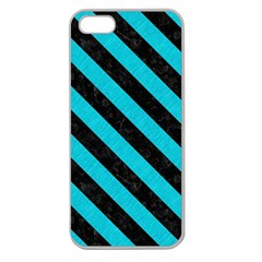 Stripes3 Black Marble & Turquoise Colored Pencil Apple Seamless Iphone 5 Case (clear)