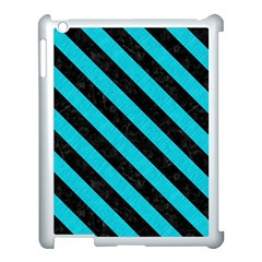Stripes3 Black Marble & Turquoise Colored Pencil Apple Ipad 3/4 Case (white) by trendistuff