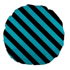 Stripes3 Black Marble & Turquoise Colored Pencil Large 18  Premium Round Cushions by trendistuff