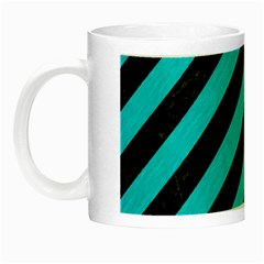 Stripes3 Black Marble & Turquoise Colored Pencil (r) Night Luminous Mugs by trendistuff