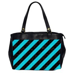 Stripes3 Black Marble & Turquoise Colored Pencil (r) Office Handbags (2 Sides)  by trendistuff