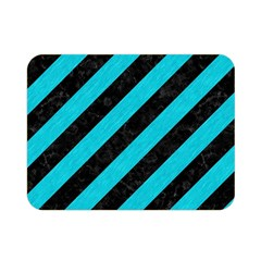 Stripes3 Black Marble & Turquoise Colored Pencil (r) Double Sided Flano Blanket (mini)