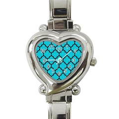 Tile1 Black Marble & Turquoise Colored Pencil Heart Italian Charm Watch by trendistuff