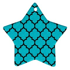 Tile1 Black Marble & Turquoise Colored Pencil Star Ornament (two Sides) by trendistuff