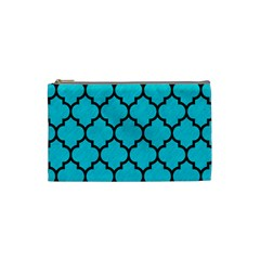 Tile1 Black Marble & Turquoise Colored Pencil Cosmetic Bag (small)  by trendistuff