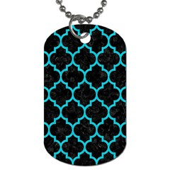 Tile1 Black Marble & Turquoise Colored Pencil (r) Dog Tag (two Sides) by trendistuff