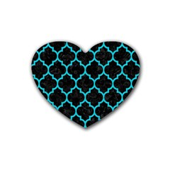 Tile1 Black Marble & Turquoise Colored Pencil (r) Heart Coaster (4 Pack)