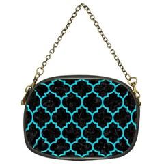Tile1 Black Marble & Turquoise Colored Pencil (r) Chain Purses (one Side)  by trendistuff