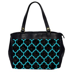 Tile1 Black Marble & Turquoise Colored Pencil (r) Office Handbags (2 Sides)  by trendistuff
