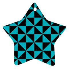 Triangle1 Black Marble & Turquoise Colored Pencil Ornament (star) by trendistuff