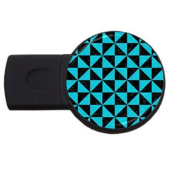 Triangle1 Black Marble & Turquoise Colored Pencil Usb Flash Drive Round (4 Gb) by trendistuff