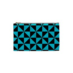 Triangle1 Black Marble & Turquoise Colored Pencil Cosmetic Bag (small)  by trendistuff