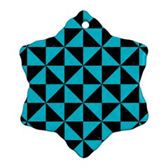 Triangle1 Black Marble & Turquoise Colored Pencil Snowflake Ornament (two Sides) by trendistuff
