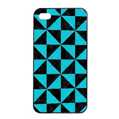 Triangle1 Black Marble & Turquoise Colored Pencil Apple Iphone 4/4s Seamless Case (black) by trendistuff