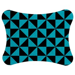 Triangle1 Black Marble & Turquoise Colored Pencil Jigsaw Puzzle Photo Stand (bow) by trendistuff