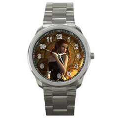 Wonderful Steampunk Women With Clocks And Gears Sport Metal Watch by FantasyWorld7