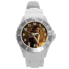 Wonderful Steampunk Women With Clocks And Gears Round Plastic Sport Watch (l) by FantasyWorld7