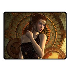 Wonderful Steampunk Women With Clocks And Gears Double Sided Fleece Blanket (small)  by FantasyWorld7