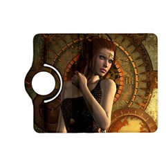 Wonderful Steampunk Women With Clocks And Gears Kindle Fire Hd (2013) Flip 360 Case by FantasyWorld7