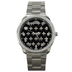 ROYAL1 BLACK MARBLE & SILVER FOIL Sport Metal Watch Front