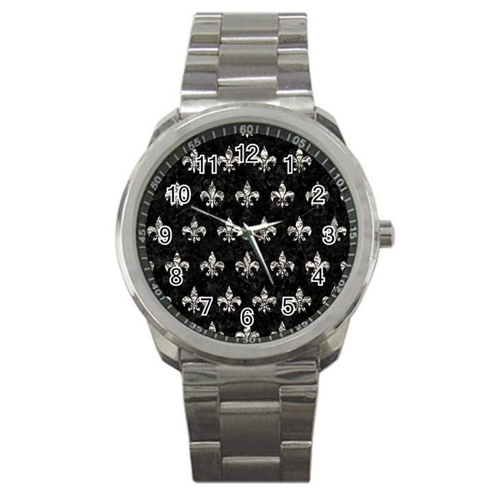 ROYAL1 BLACK MARBLE & SILVER FOIL Sport Metal Watch