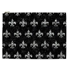 Royal1 Black Marble & Silver Foil Cosmetic Bag (xxl)  by trendistuff