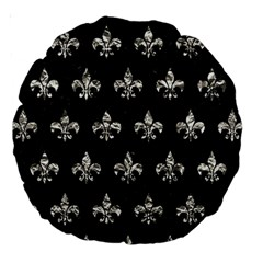 Royal1 Black Marble & Silver Foil Large 18  Premium Round Cushions by trendistuff