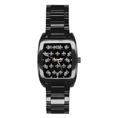 Royal1 Black Marble & Silver Foil Stainless Steel Barrel Watch by trendistuff