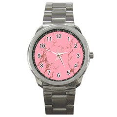 Luxurious Pink Marble Sport Metal Watch by tarastyle