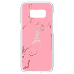 Luxurious Pink Marble Samsung Galaxy S8 White Seamless Case by tarastyle