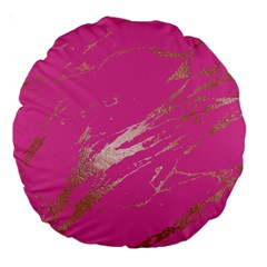 Luxurious Pink Marble Large 18  Premium Round Cushions by tarastyle