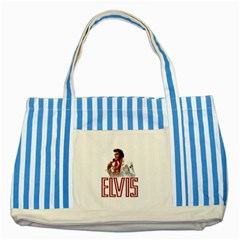 Elvis Presley Striped Blue Tote Bag by Valentinaart